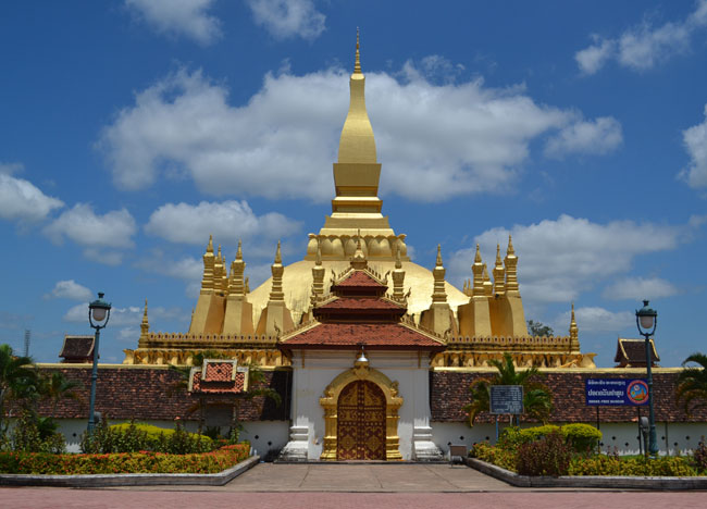 Famous Laos Golden Stupa Temple