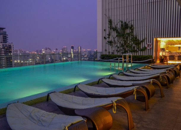 Rooftop Pool at Hilton Hotel in Em District of Bangkok Skytrain