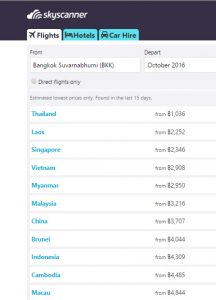 Skyscanner List, Best Cheap Easy Thai VISA Runs from Bangkok (Tourists)
