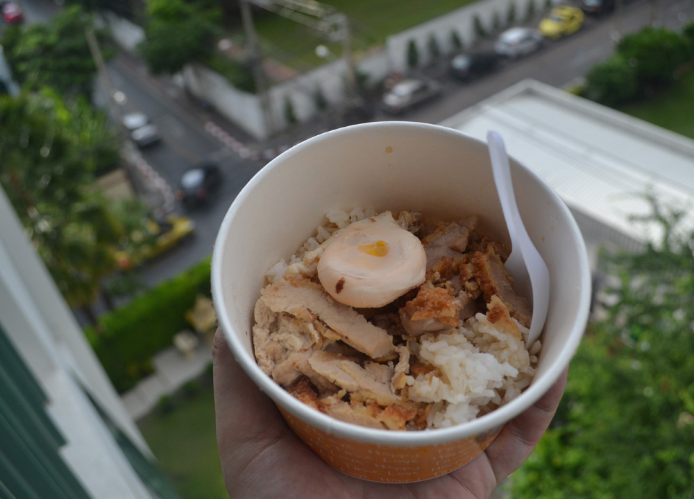 Eating on Balcony, International street food in Bangkok Thailand